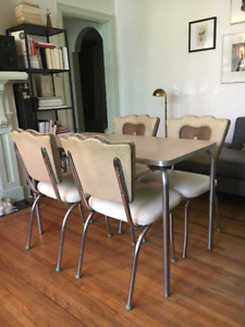 Vintage Mid Century | Chrome Table + 4 Dining Chairs-New Padding