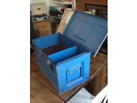 Heavy duty metal tool box converted from ammo box including removable internal sections