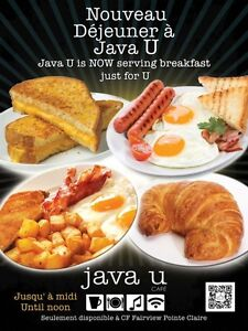 Java U Café in CF Fairview Pointe Claire for Sale by Owner