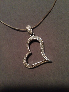 HEART SHAPED EARRINGS AND DIAMOND HEART NECKLACE