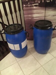 Two small rain barrels