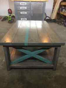 Rustic style grey stained coffee table