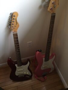 Electric Guitar, Bass Guitar and Fender Amp