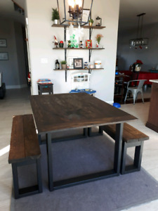 5 foot modern rustic solid wood table with benches