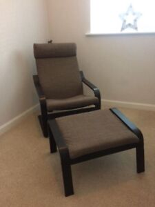 Ikea POANG brown chair with ottoman
