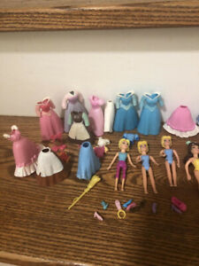 DISNEY PRINCESS POLLY POCKET DOLL, DRESS AND ACCESSORIES LOT. MA