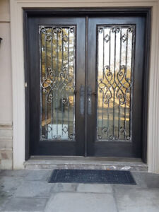 Solid wood front doors with Wrought Iron,74 Wide by 93 Tall