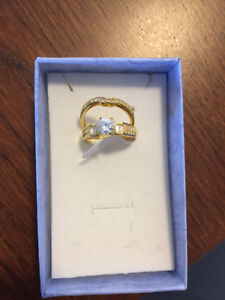 18K Gold-Plated Cubic Zirconia Band and Ring Set