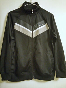Nike Black Athletic Jacket/Grey Chevron Stripes; New Condition