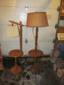 2 lampe salon bois wood lamps on stand vintage
