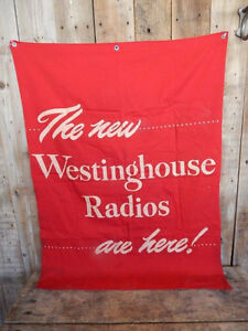 Large Vintage Westinghouse Radio Advertising Banner