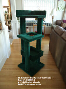 St. Patrick's Day Green Cat Condo - 4 1/2 ft Height