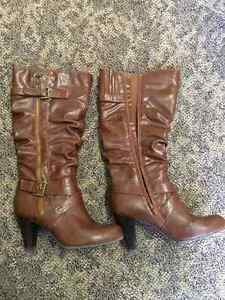 Guess Leather Boots - Grey, Brown, and Taupe