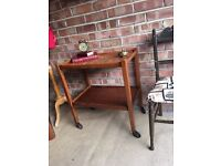 REAL ANTIQUE TEA TROLLEY SIDE TABLE FREE DELIVERY