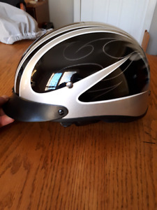 Half helmet with drop down visor