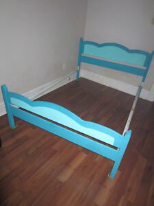 Double Bed Frame - blue painted wood