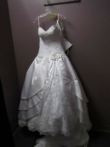 White satin-lace-beaded wedding gown (size 2) - $1200
