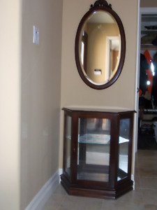 Display cabinet with mirror