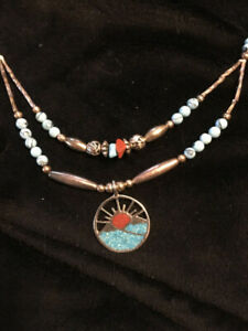 Navajo Inspired Necklace Sunrise with Turquoise inlay
