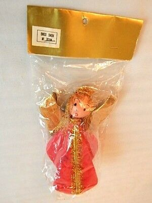 Nos Vintage Angel Flocked Holiday Christmas Tree Top Ornament Golden Hong Kong Angel Tree Top Ornament