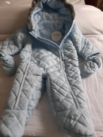 Quilted Pale Blue Pram suit 3 - 6 months Brand New