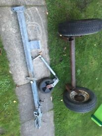 Trailer axle, hitch and jockey wheel