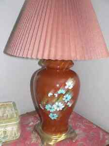 A pair of tall burgundy lamps/lampe West Island Greater Montréal image 1