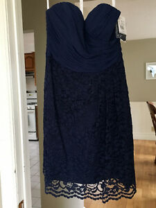 PROM or BRIDESMAID Dress: Navy Blue Lace Strapless