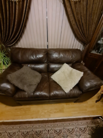 Dfs brown leather sofa (open to sensible offers)