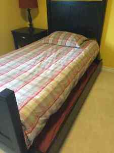 Single bed with trundle & matching end table