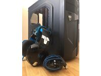 Pc case with headset and faulty mouse