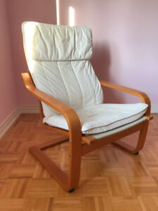 IKEA white Poang chair and foot stool
