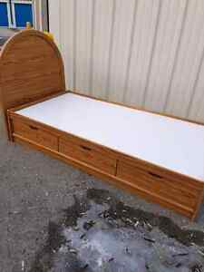 Wood twin size bed