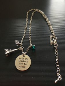 Necklace With Pendant & Charms - Only The Fearless Can Be Great