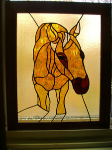 "Framed stained glass horse 17"" x 21"" wall decor."