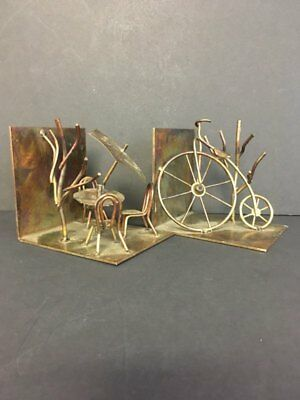 - Vintage Copper Brutalist Torch Cut High Wheeler Bicycle/ Table w/Chairs Bookends