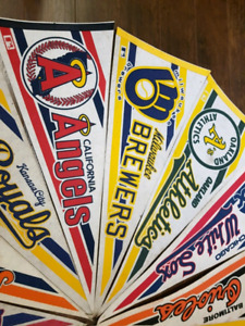 Vintage MLB baseball pennants lot Yankees Sox Brewers