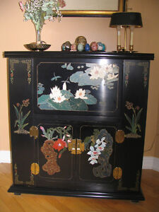 Black Chinoiserie Lacquer Liquor Cabinet - Appraised at $2800