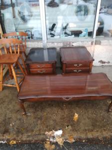 3 table de salon bois provincial