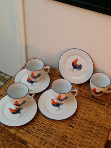 Four Rooster Themed Cups w/side  Plates