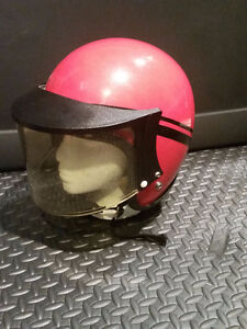 Original Vintage 1970's Red Motorcycle Moped Scooter Helmet