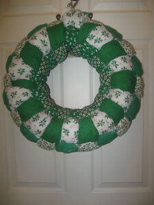 PUFFY-PADDED DOUBLE-SIDED PATCHWORK DOOR WREATH