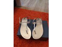 New Arezzo golden sandals, size 5