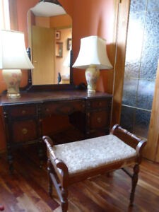 Antique Victorian Dresser,  Vanity with Mirror & Chair