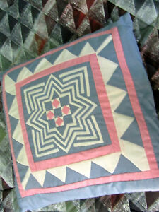 Square Quilted Geometric-Pattern Pillow