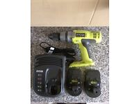CORDLESS RYOBI DRILL/DRIVER/CHARGER/2BATTERIES.