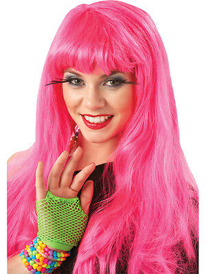 Hot Neon Pink 80's 90's Fancy Dress Wig - Boogie Nights Kostüme