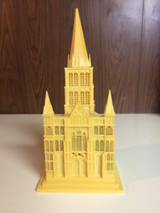Vintage Christmas Cathedral Lights Up-Silent Night 1950's retro