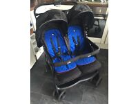 Joie Aire Twin double pram with raincover and seat liners