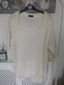 White sparkly wool jumper